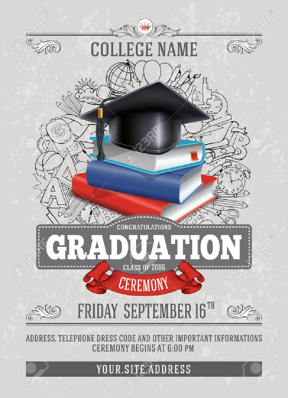 Vector template of announcement or invitation to Graduation ceremony or party with unusual realistic image of Graduation cap and stack of books. There is place for your text. - 69204984