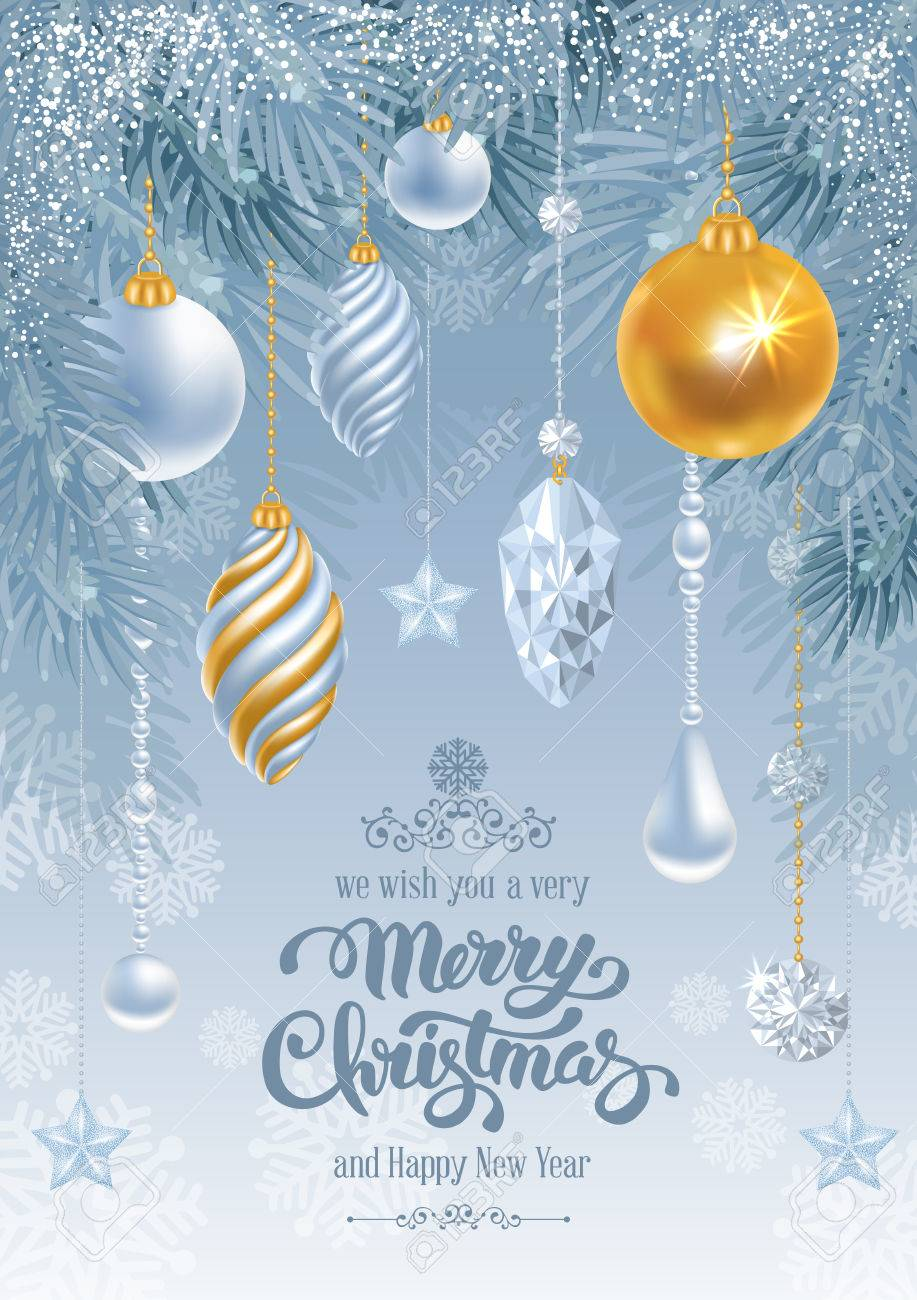 Frozen Christmas Decorations.Christmas Greeting Card With Frozen Spruce Branches And Different