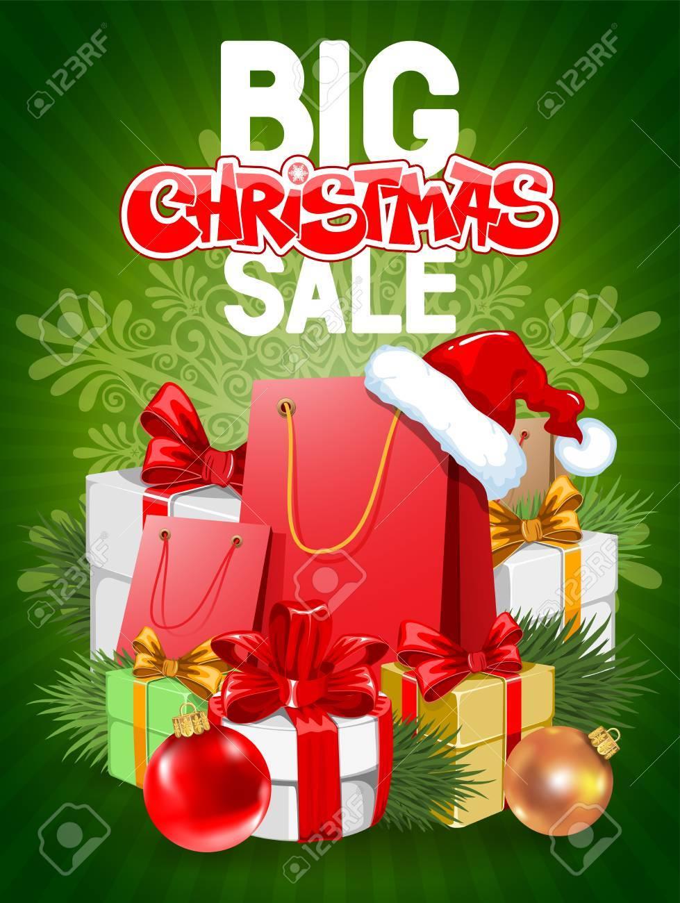 Helle Werbeplakat Big Weihnachtsverkauf Auf Grünem Hintergrund Mit ...