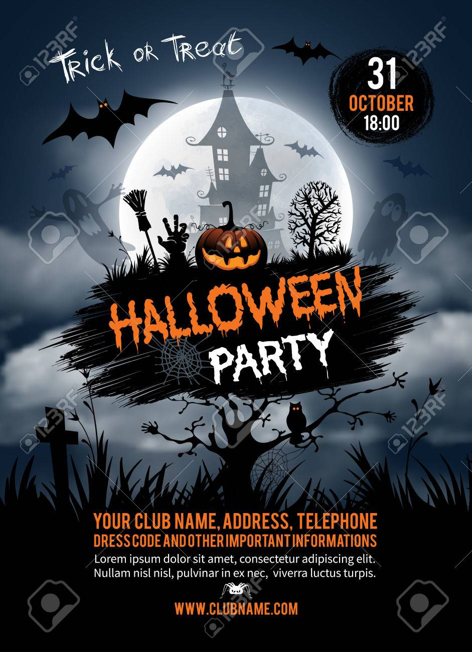 Halloween vertical background with pumpkin, haunted house and full moon. Flyer or invitation template for Halloween party. Vector illustration. - 63163843