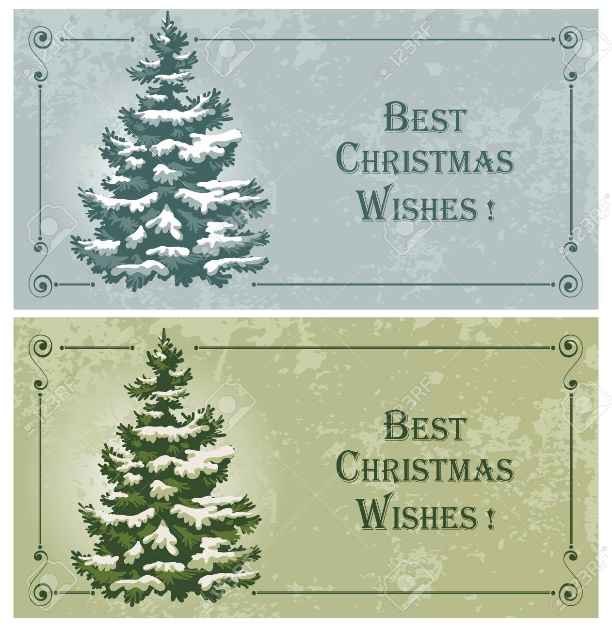 Vintage Christmas Cards With Spruce In The Snow Royalty Free ...