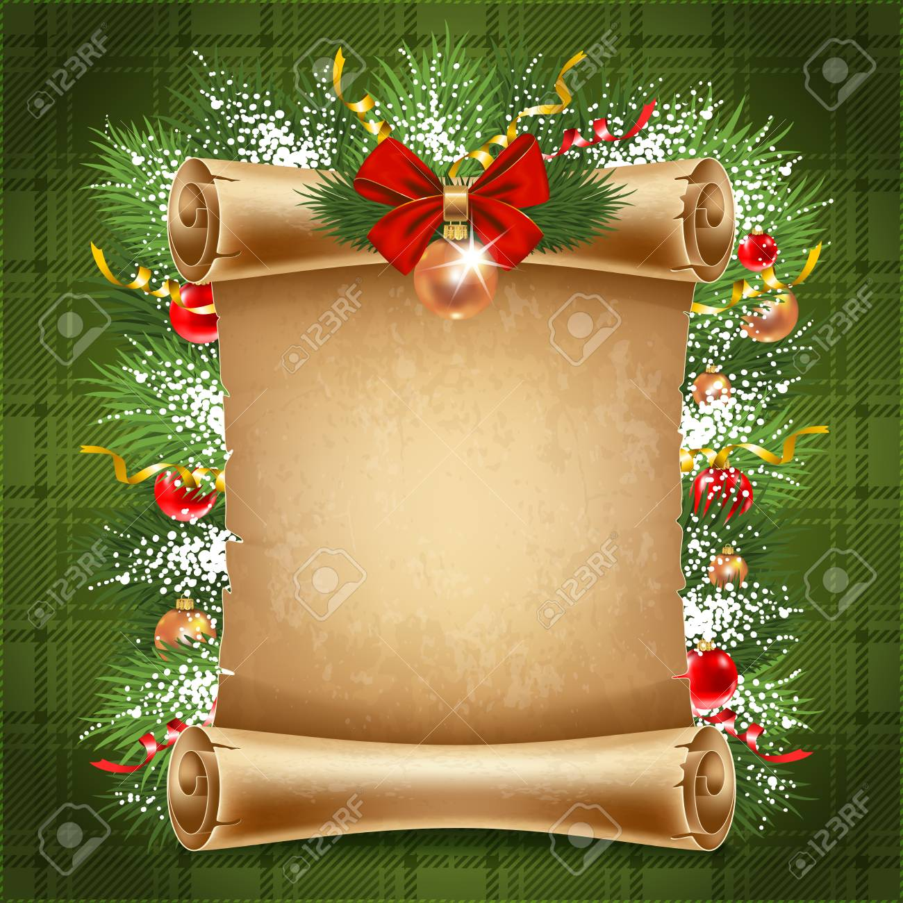 Vertical Old Scroll Paper With Christmas Decorations And Space ...