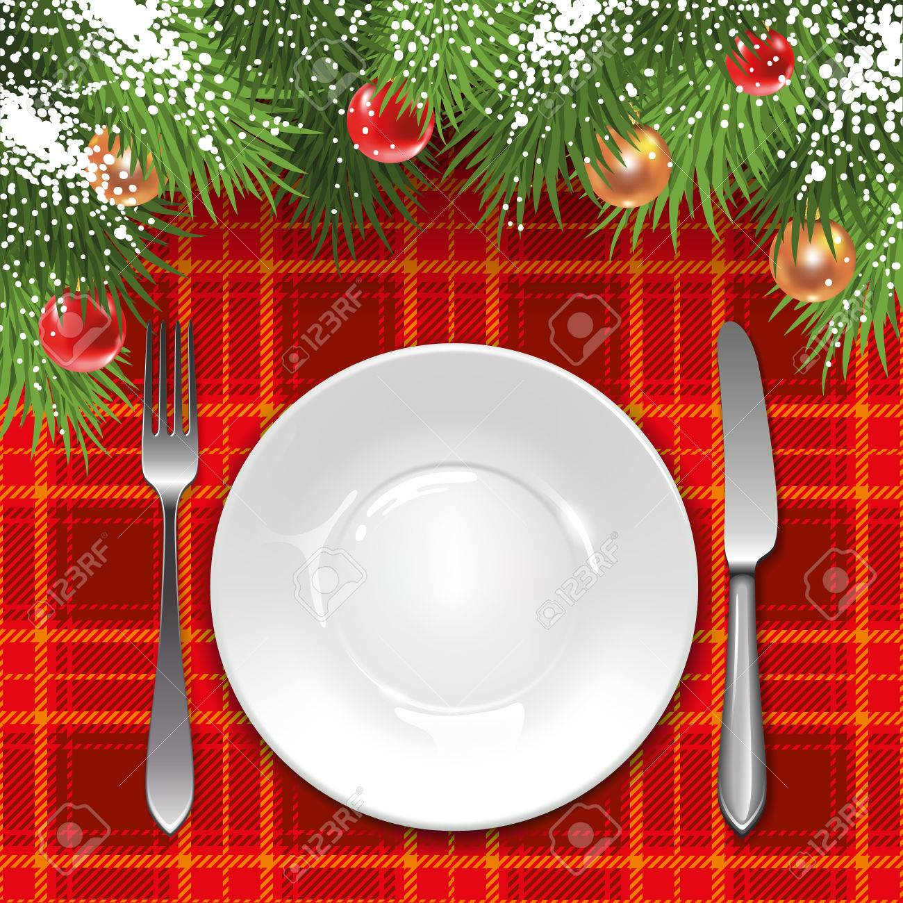 Christmas Menu Template With Holiday Decorations And Tartan Tablecloth.  Stock Vector   63163494