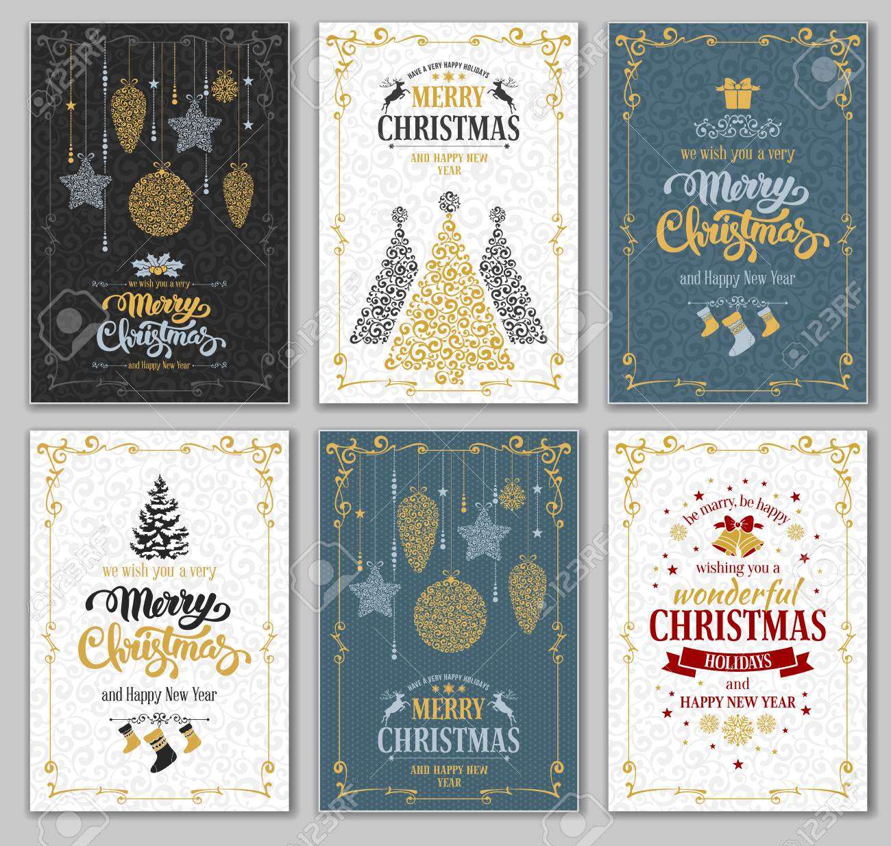 merry christmas and happy new year greeting cards designs set vector graphic in unusual style