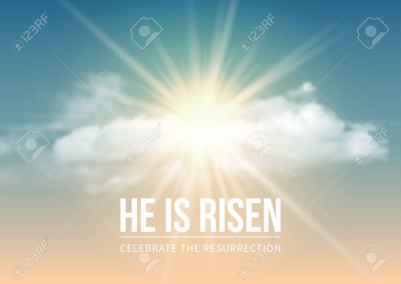 Christian religious design for Easter celebration, text He is risen, shining Cross and heaven with white clouds. Vector illustration. - 73723268