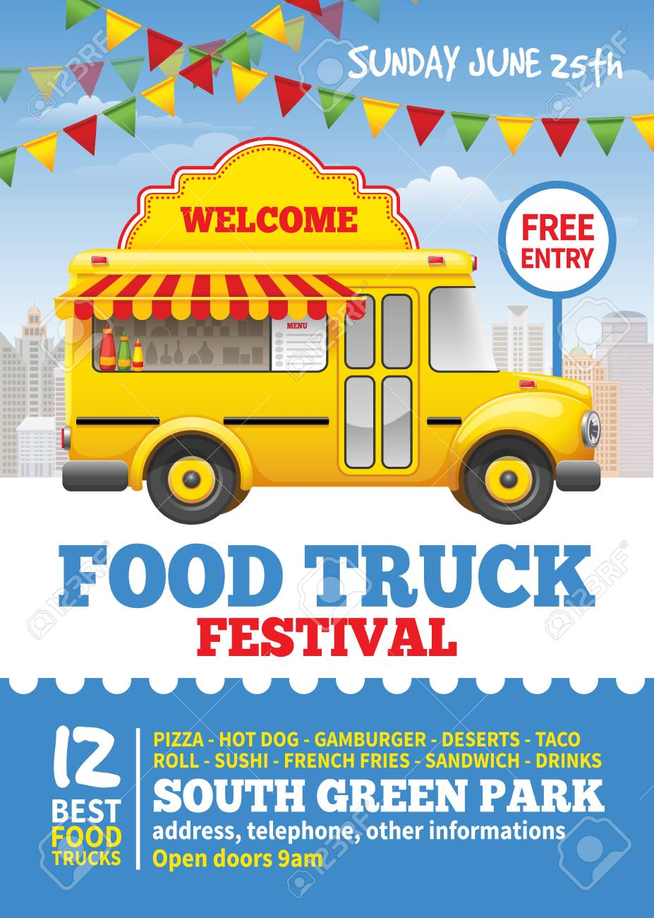 Food truck festival poster design template. Cute vintage food truck on blue sky background. Vector illustration. For holiday flyers and banners design. - 75182777