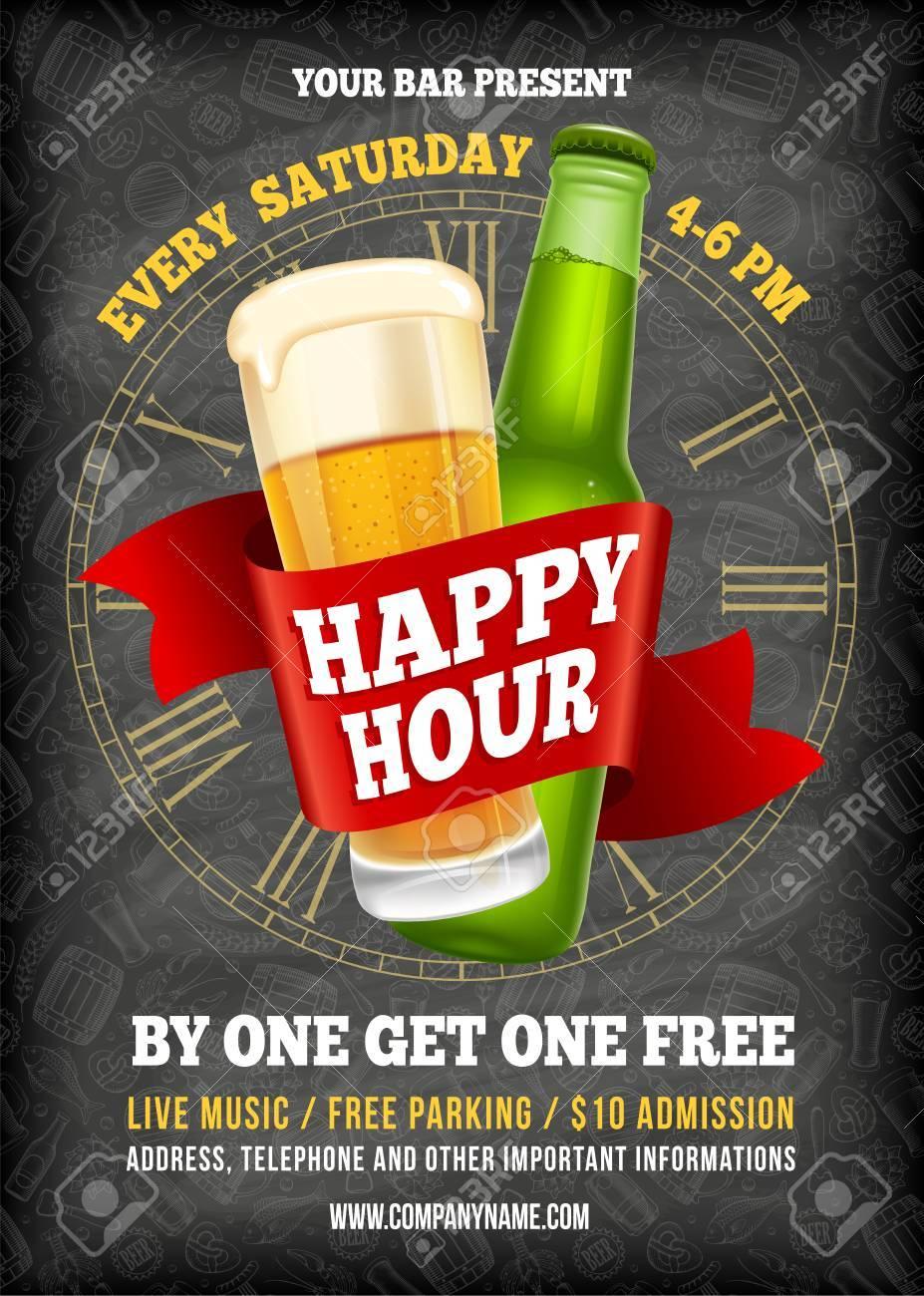 Happy Hour Free Beer Vintage Illustration Template For Web