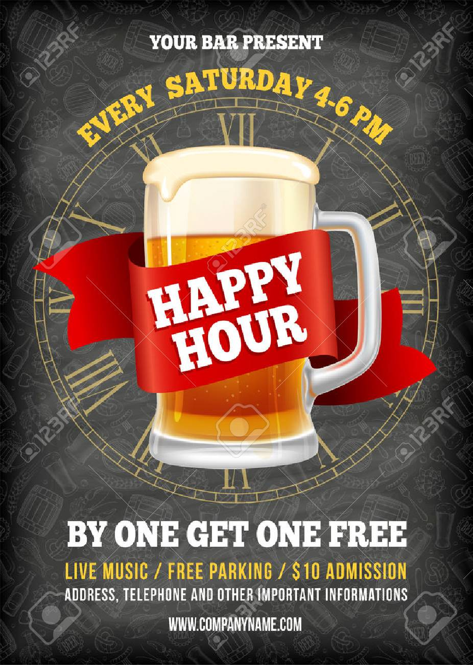 Happy Hour. Free beer. Vintage illustration template for web, poster, flyer, invitation to party. Vector stock illustration. - 81692251