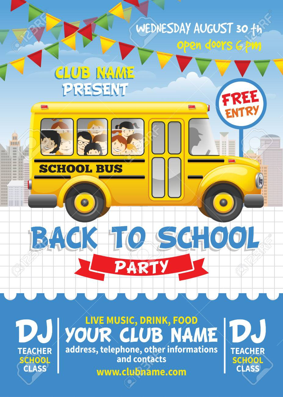 back to school party poster template cute design with yellow