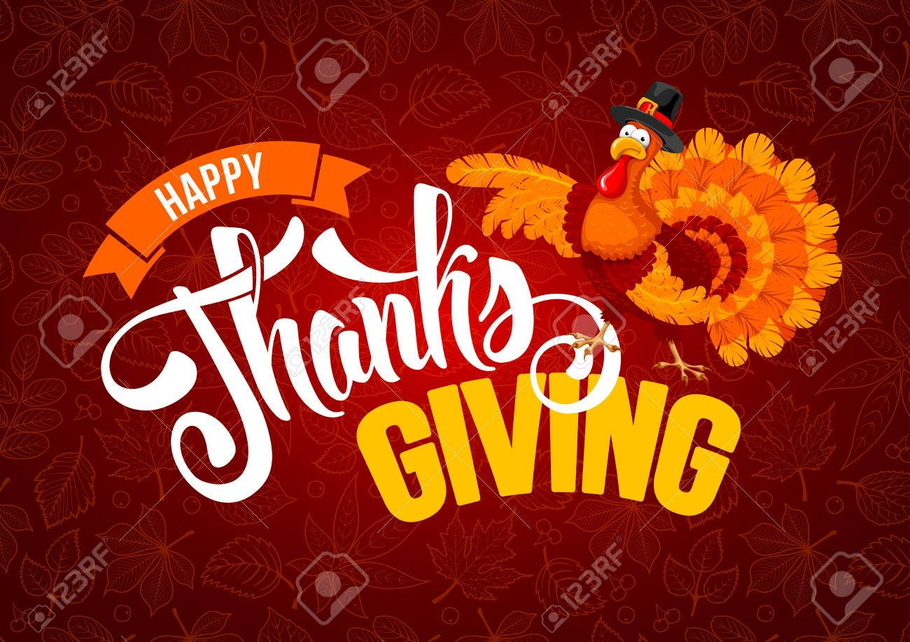 Thanksgiving greeting design with cheerful turkey and calligraphy inscription Happy Thanksgiving Day on red background with leafs pattern. Vector illustration. - 88032146