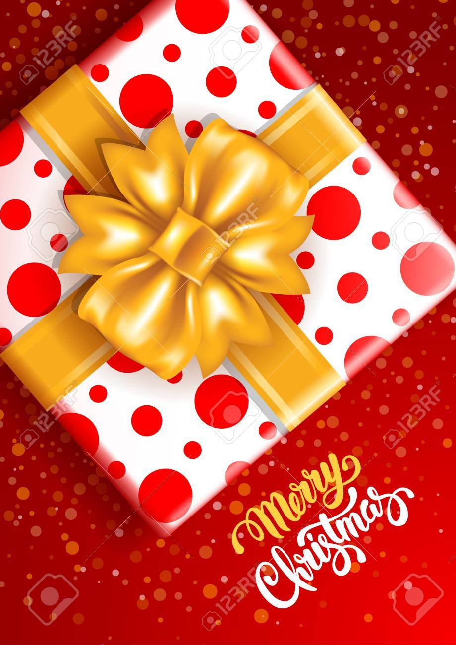 merry christmas festive design big gift box with gorgeous golden