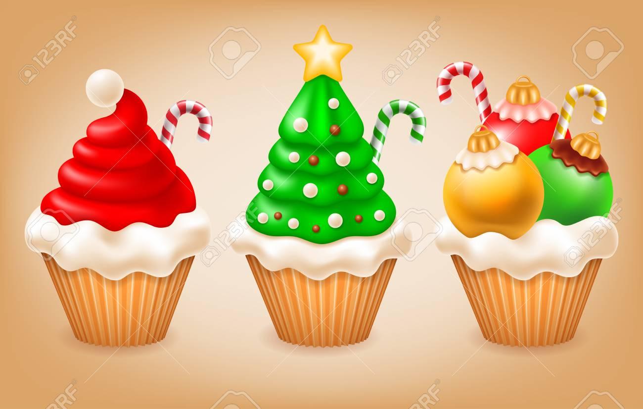 Sweet Christmas And New Year Various Tasty Cupcakes As Santa