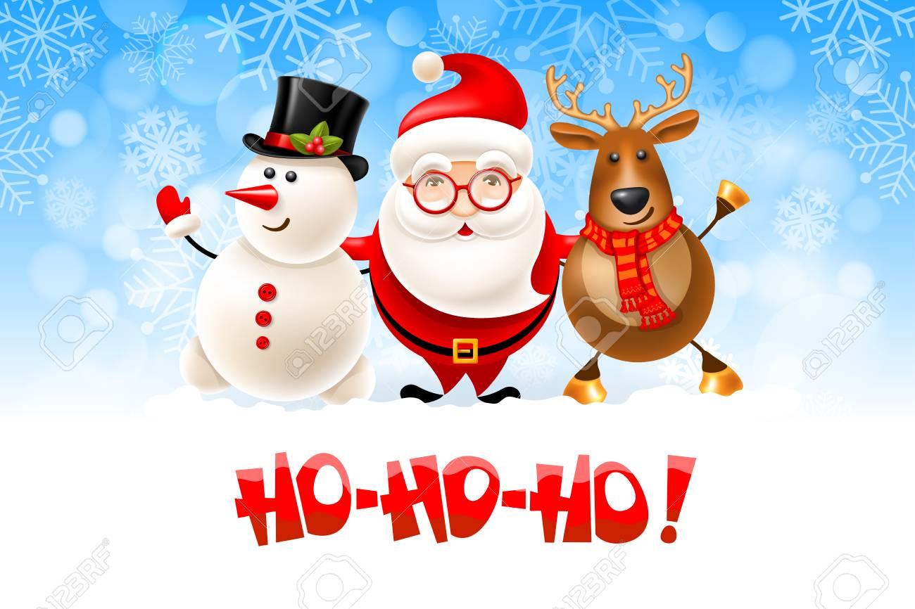 Ho Ho Ho Merry Christmas.Merry Christmas Hohoho Cheerful Christmas Set Santa Claus
