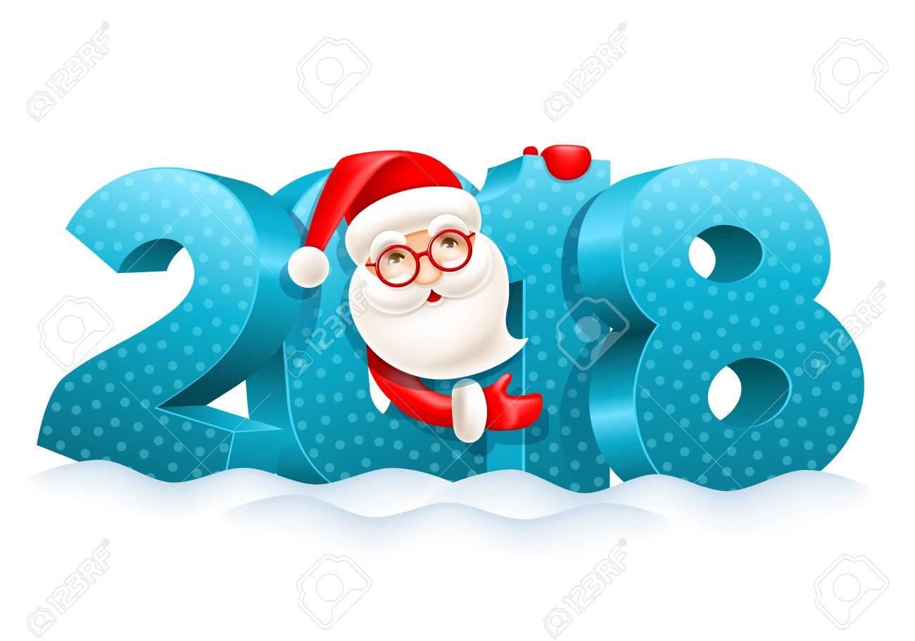 noel 2018 a la neige Chiffres Volumétriques 2018 Dans La Neige Et Dessin Animé Mignon  noel 2018 a la neige