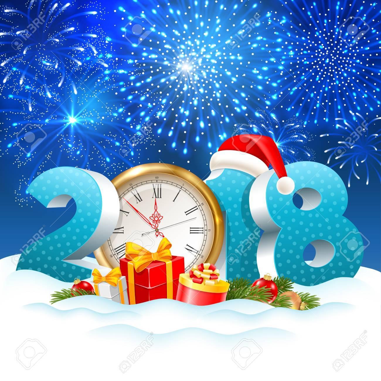 La Navidad Navideña Se Acerca Dígitos Volumétricos 2018 Y Reloj