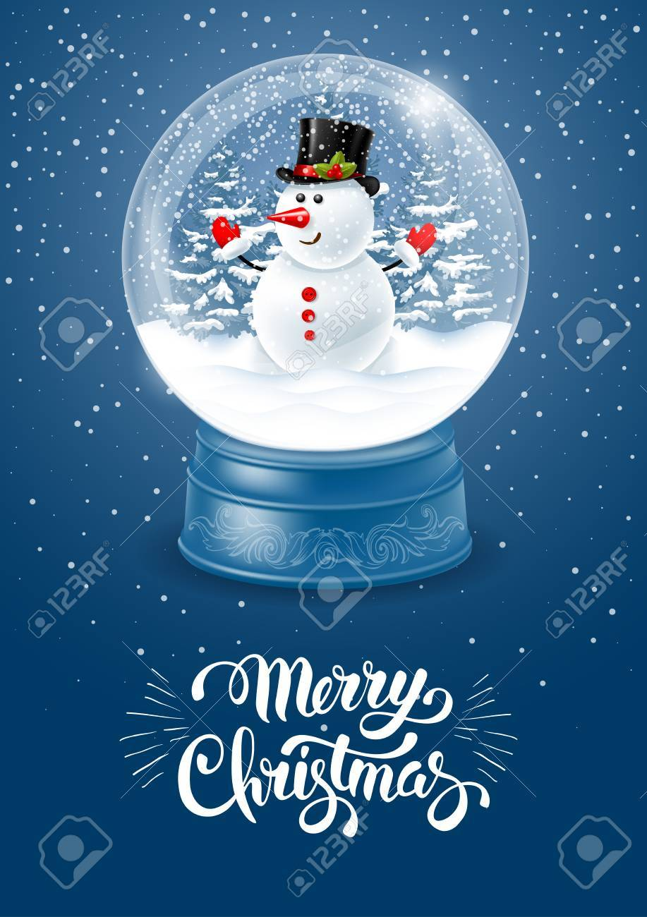 Christmas greeting magic snow globe with cute snowman and flying christmas greeting magic snow globe with cute snowman and flying snowflakes realistic vector illustration m4hsunfo Images
