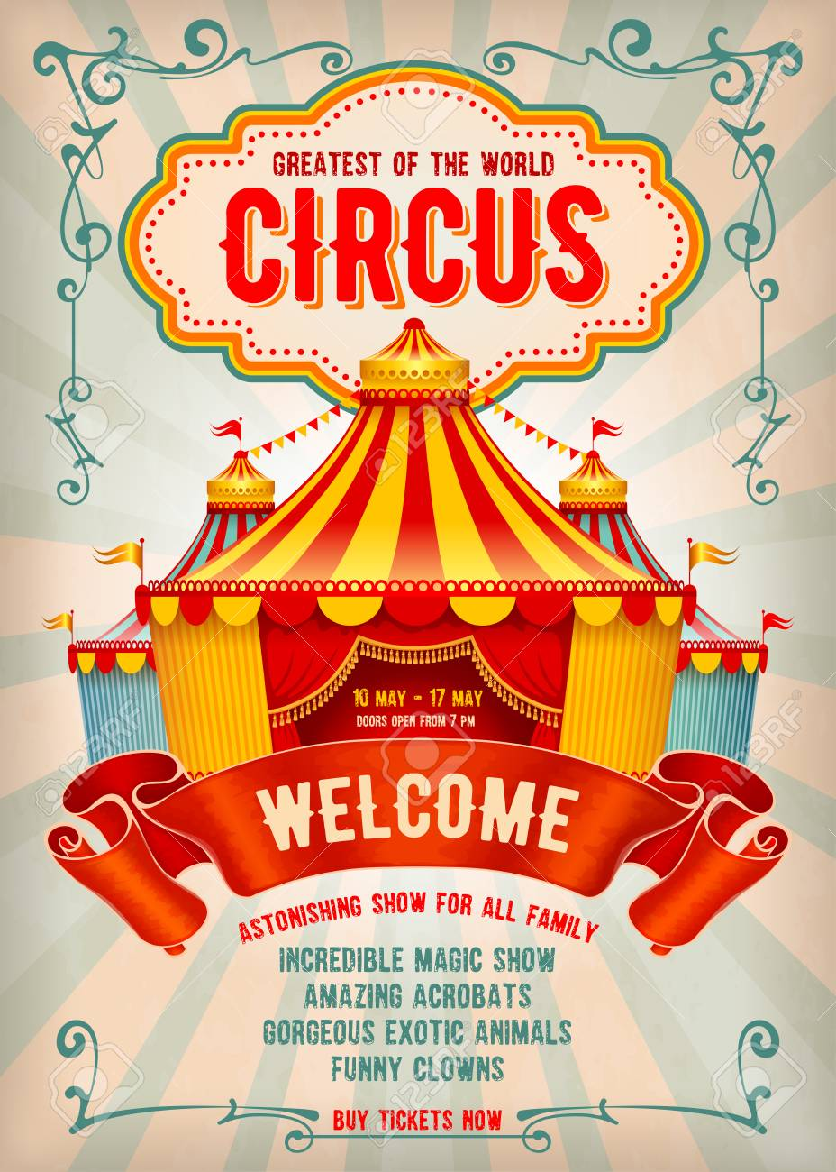 Vintage Circus Advertising Poster Or Flyer With Big Marquee