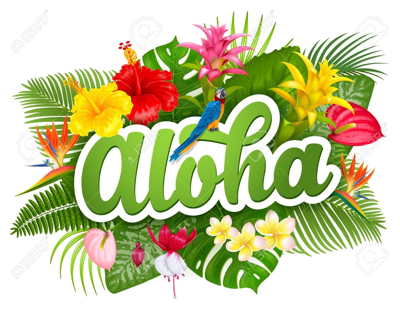 aloha hawaii hand drawn lettering and tropical plants leaves rh 123rf com aloha clip art free aloha clipart download