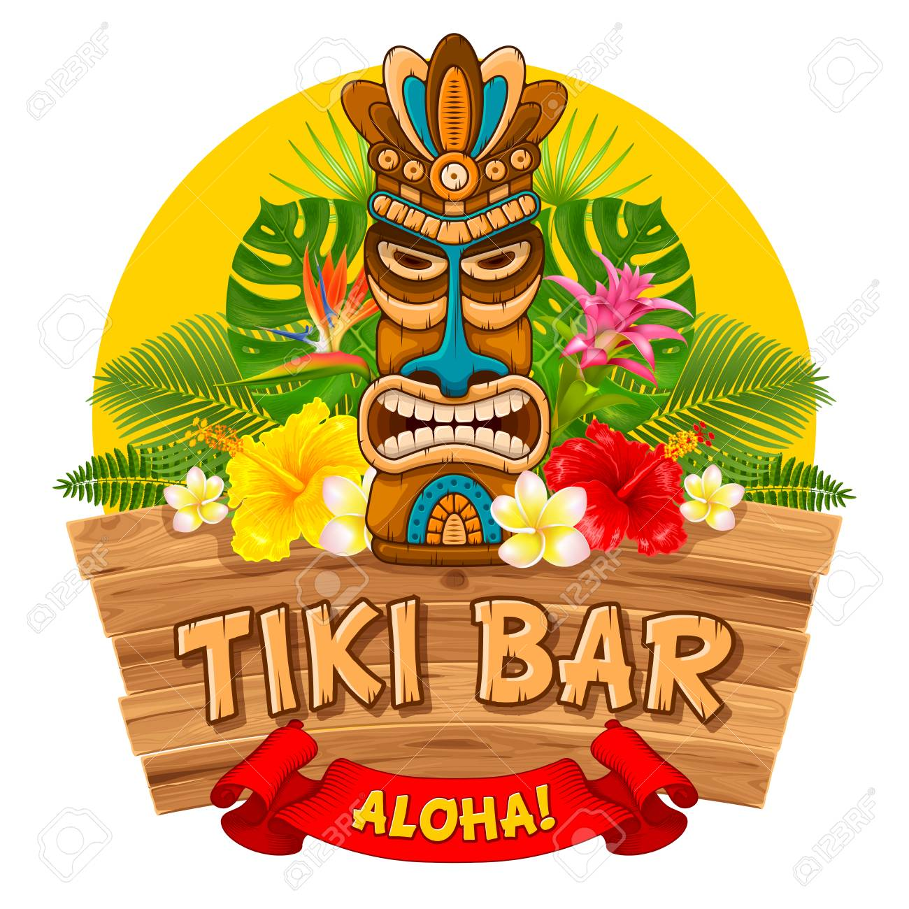 Tiki tribal wooden mask, tropical exotic plants and signboard of bar. Hawaiian traditional elements. Isolated on white background. Vector illustration. - 98758115