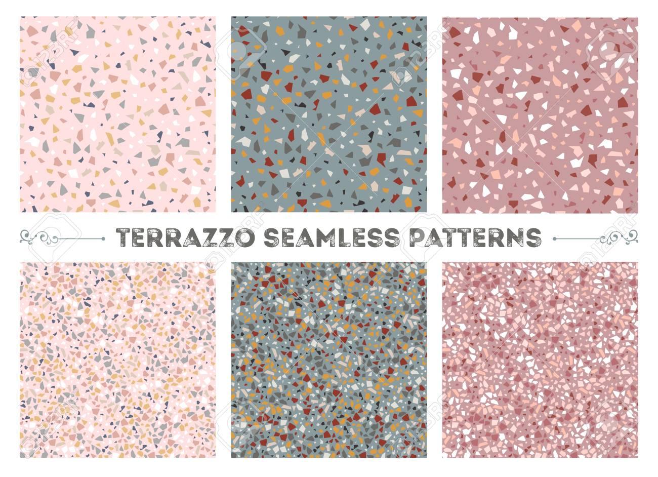 Set Of Six Terrazzo Veneziano Seamless Patterns. Beige Pink And ...
