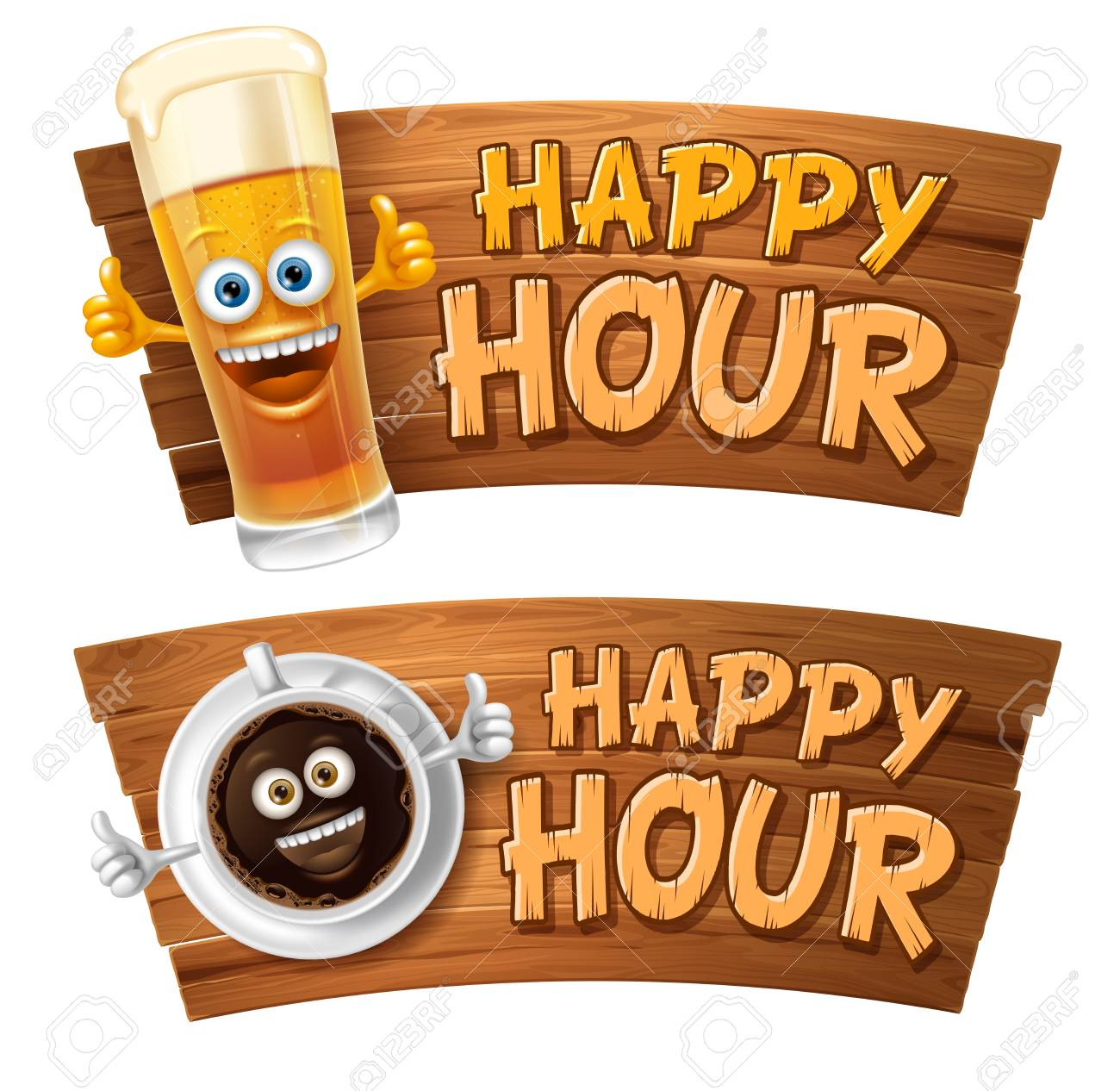 Happy Hour. Vintage vector illustration with lettering and cute cheerful coffee cup or beer glass on wooden signboard. Isolated on white background. - 102522970