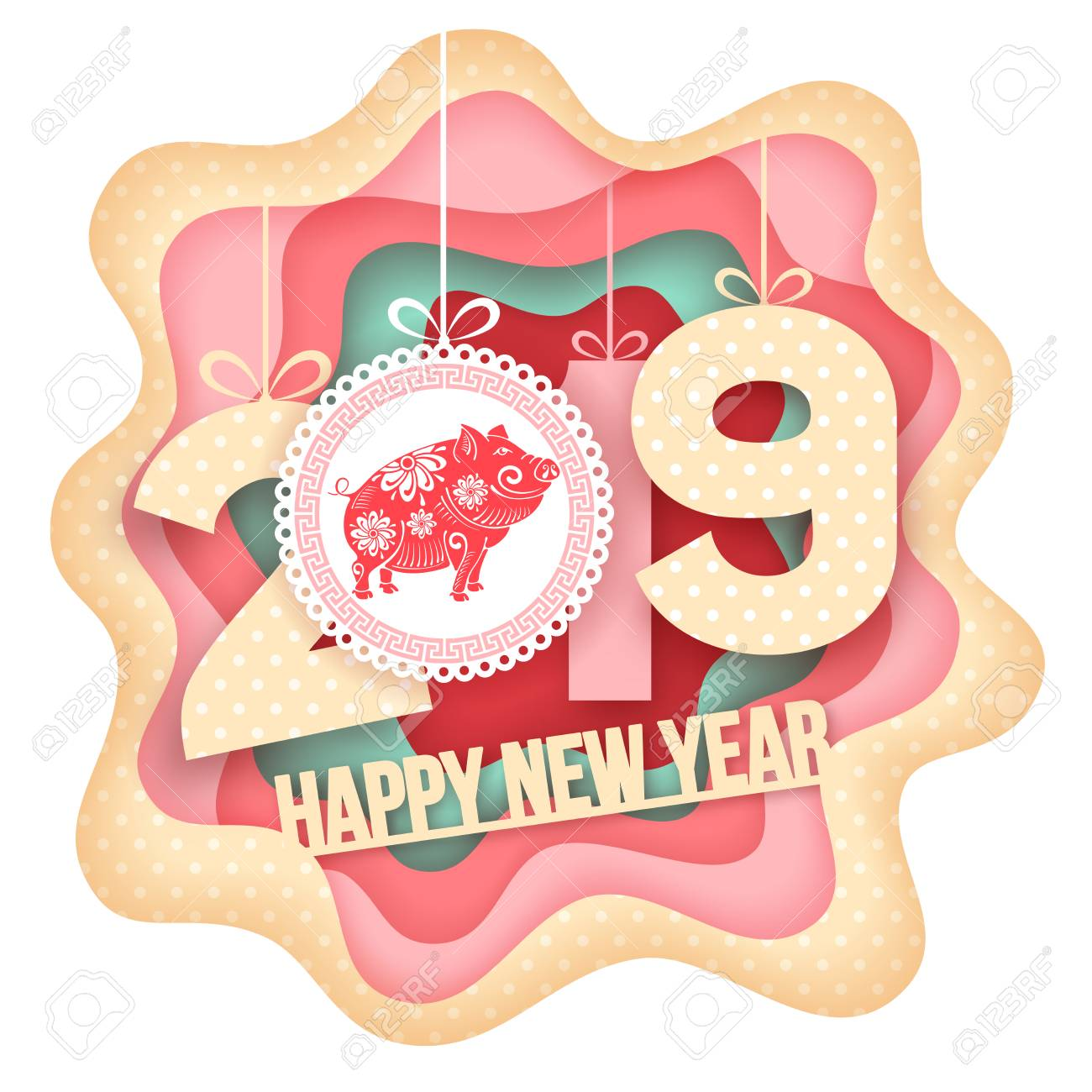 Happy New Year greeting. Paper art carving style design with digits 2019 and symbol of the year - pig. Vector illustration. - 102963774