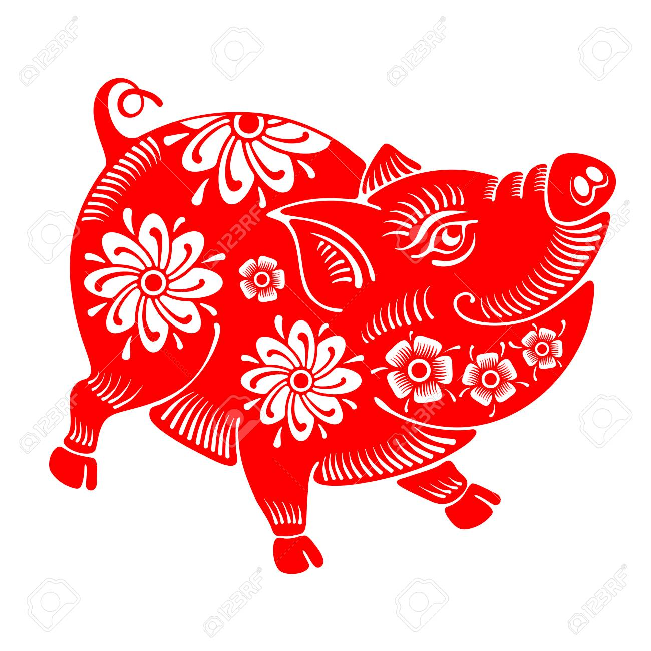 Cute cheerful pig, Chinese zodiac symbol of 2019 year, isolated on white background. Vector illustration. - 104790595