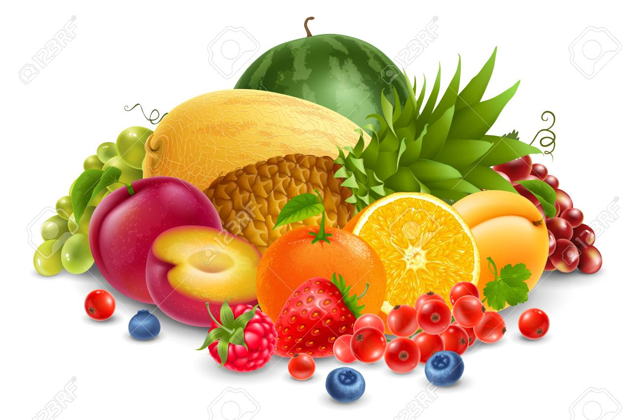 harvest of juicy fruits and berries vector illustration isolated