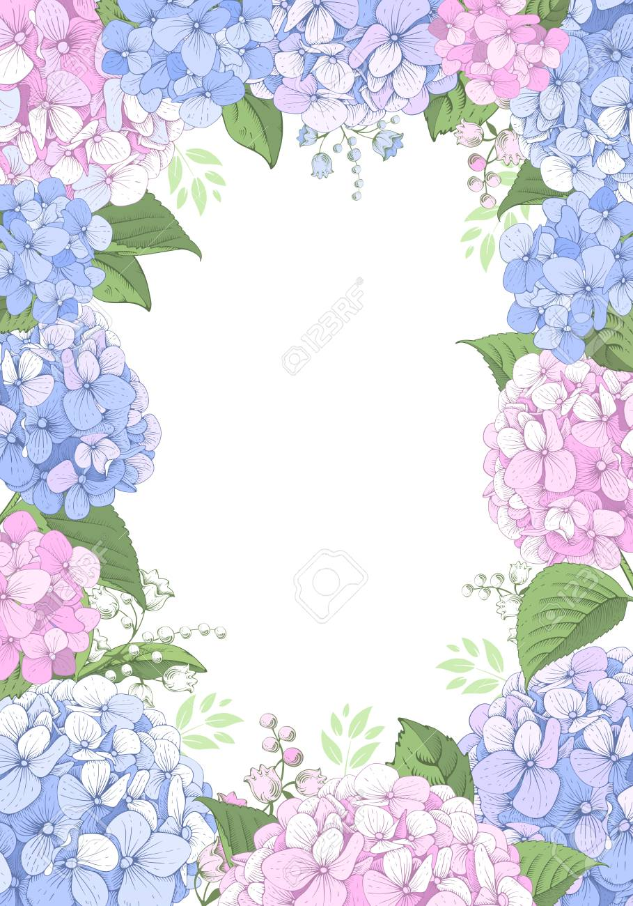 Vector vertical frame with blue and pink hydrangea flowers on white background. Gentle floral design. Can be used as design element for wedding , greeting card, package and other. - 124158044