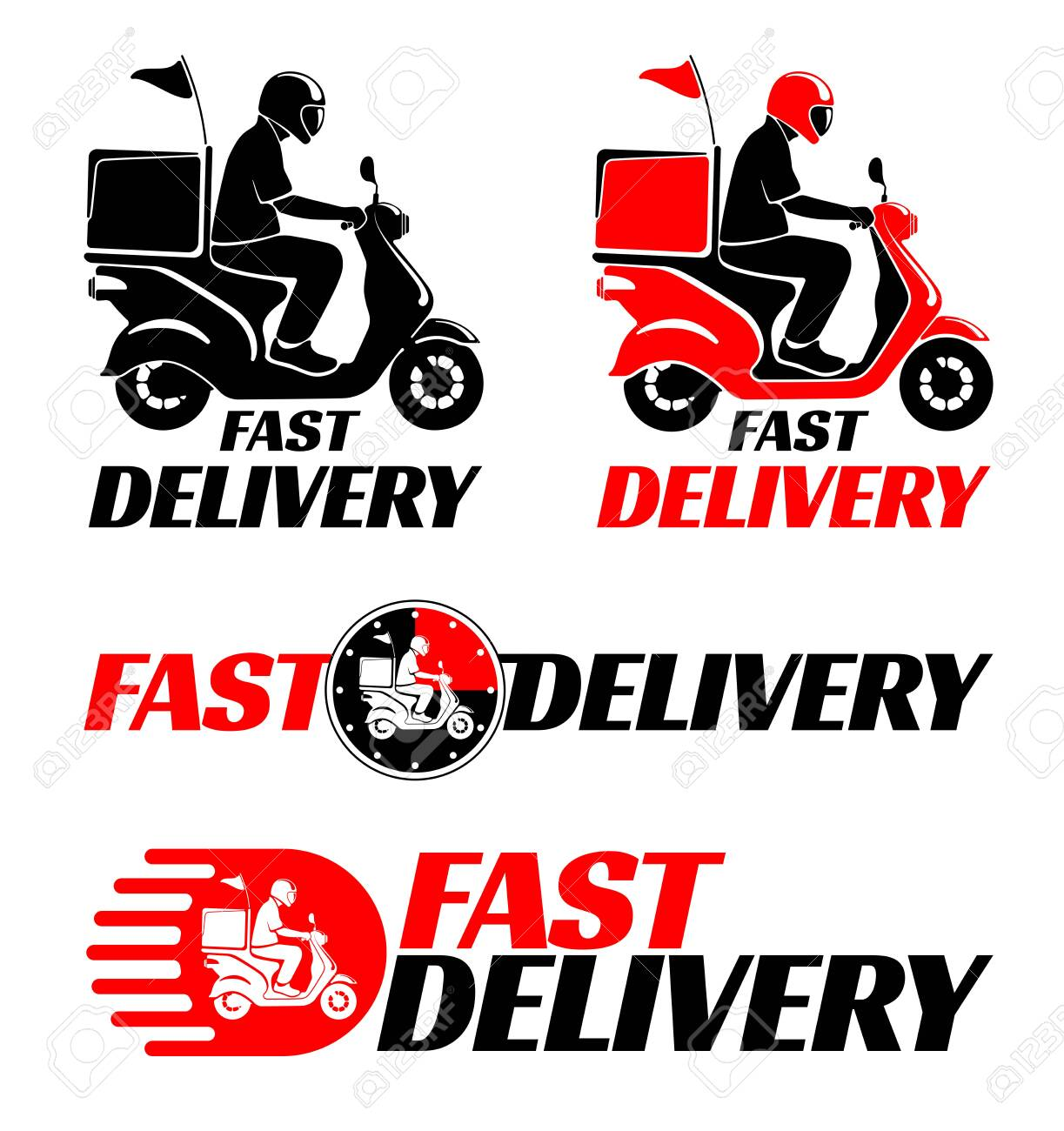Logotypes design set for fast delivery of food or parcel by scooter. Vector illustration. - 147884086