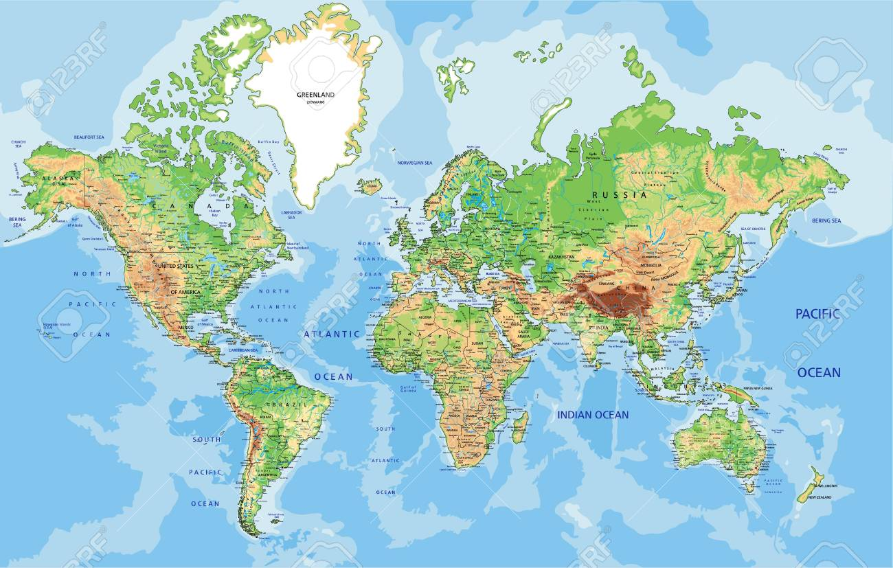 Image of: Highly Detailed Physical World Map With Labeling Vector Illustration Royalty Free Cliparts Vectors And Stock Illustration Image 121667544