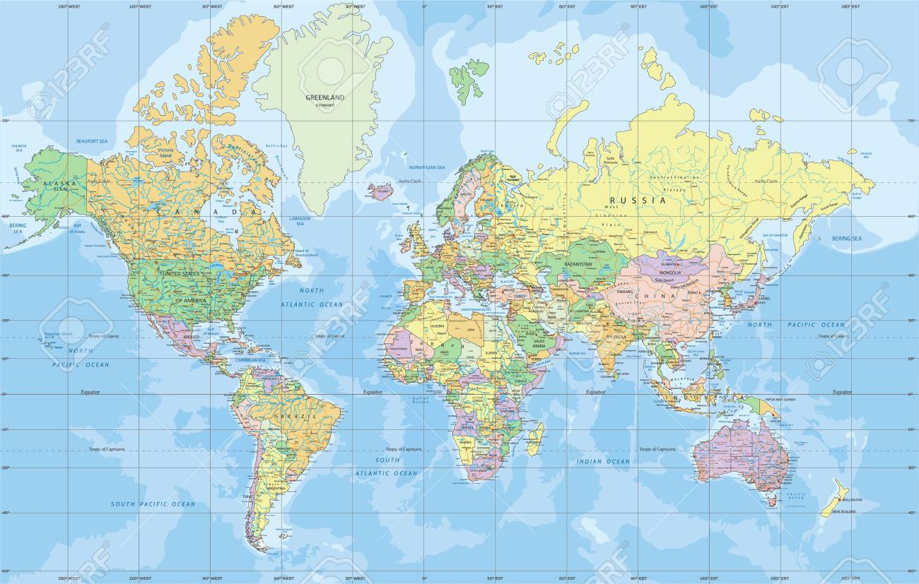 Picture of: Political World Map In Mercator Projection Royalty Free Cliparts Vectors And Stock Illustration Image 121667551