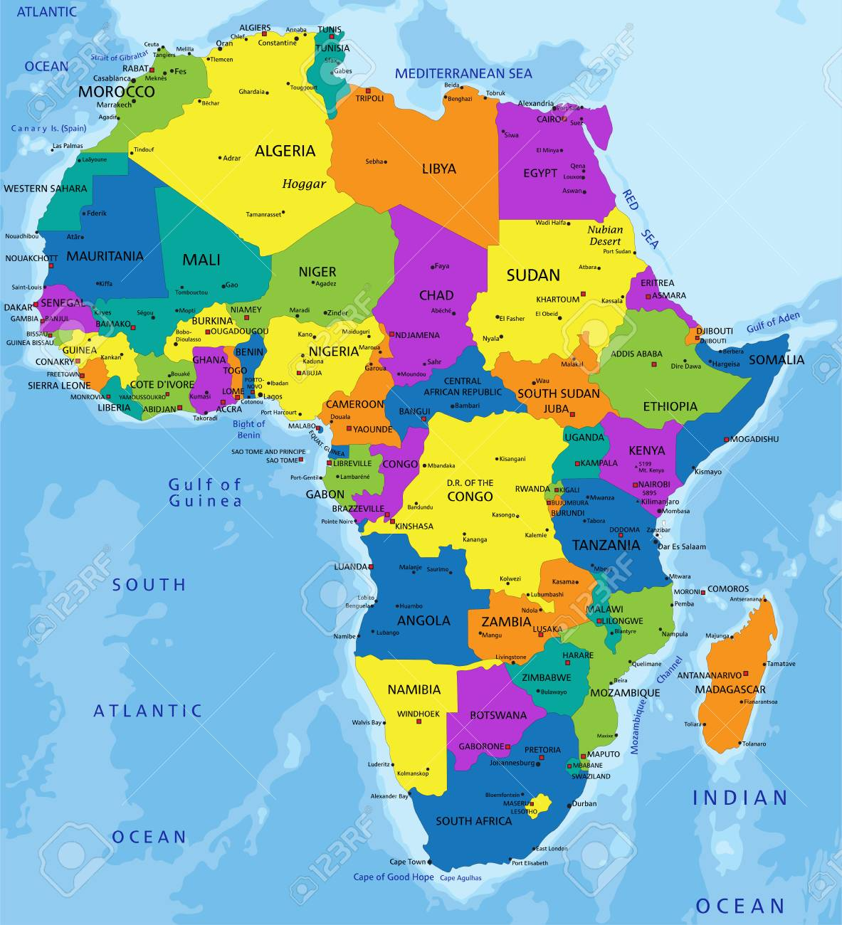 Map Of Africa Political.Colorful Africa Political Map With Clearly Labeled Separated