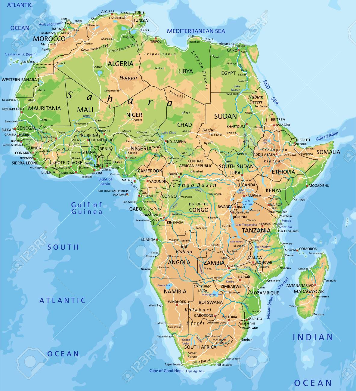 Africa Physical Maps.High Detailed Africa Physical Map With Labeling