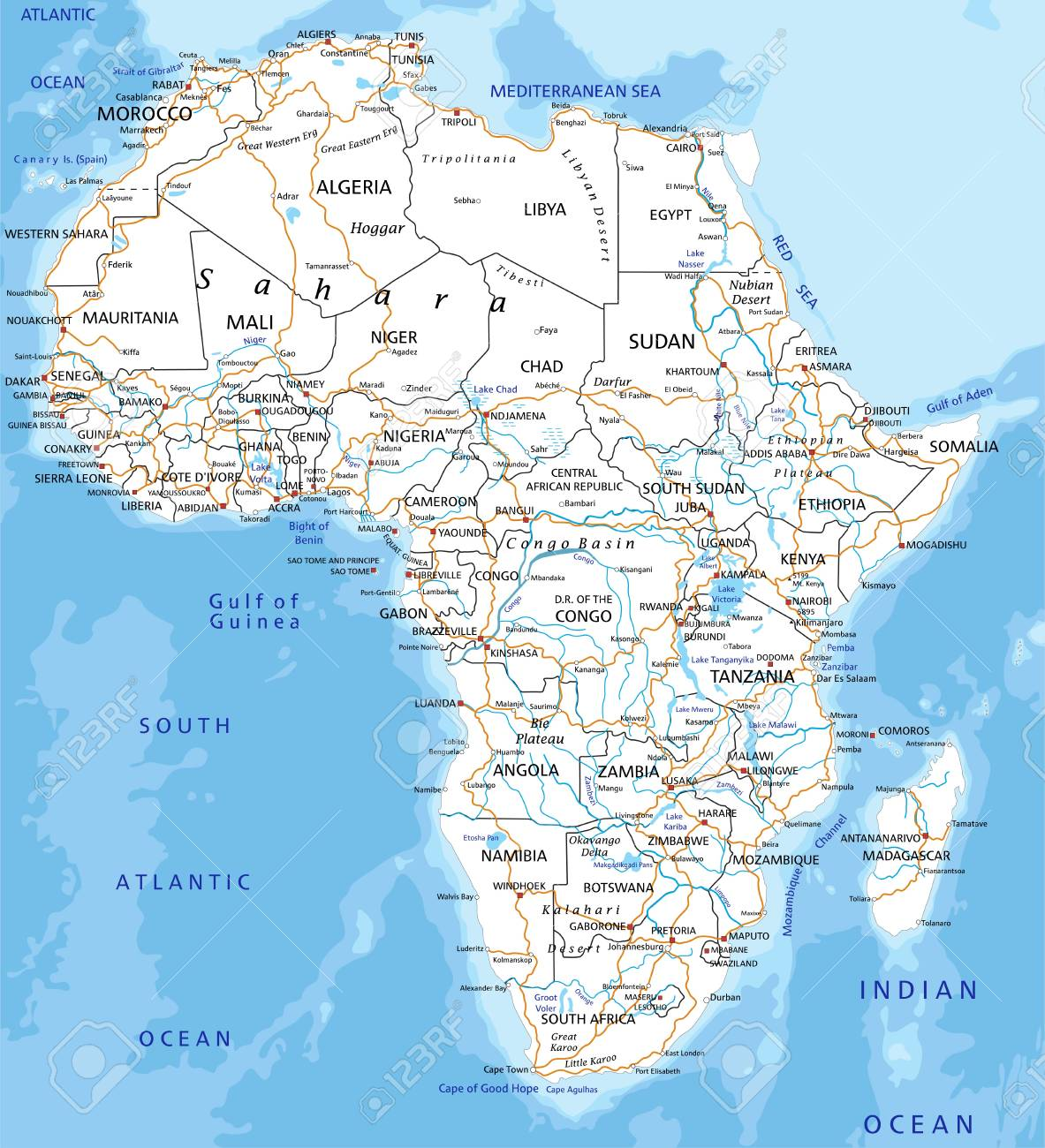 Map Of Africa Detailed.High Detailed Africa Road Map With Labeling