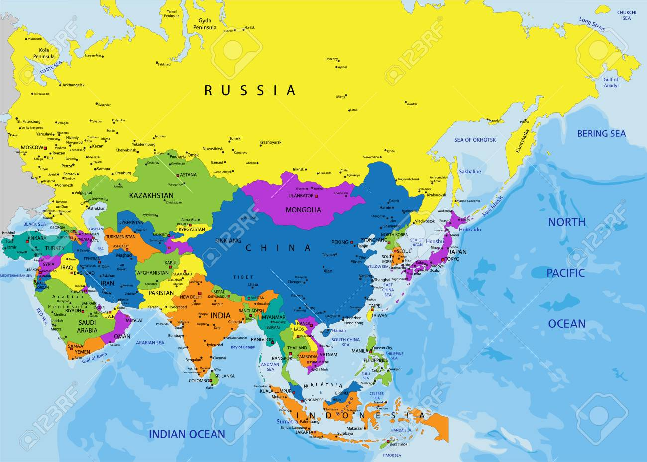 Colorful Asia political map with clearly labeled, separated layers...