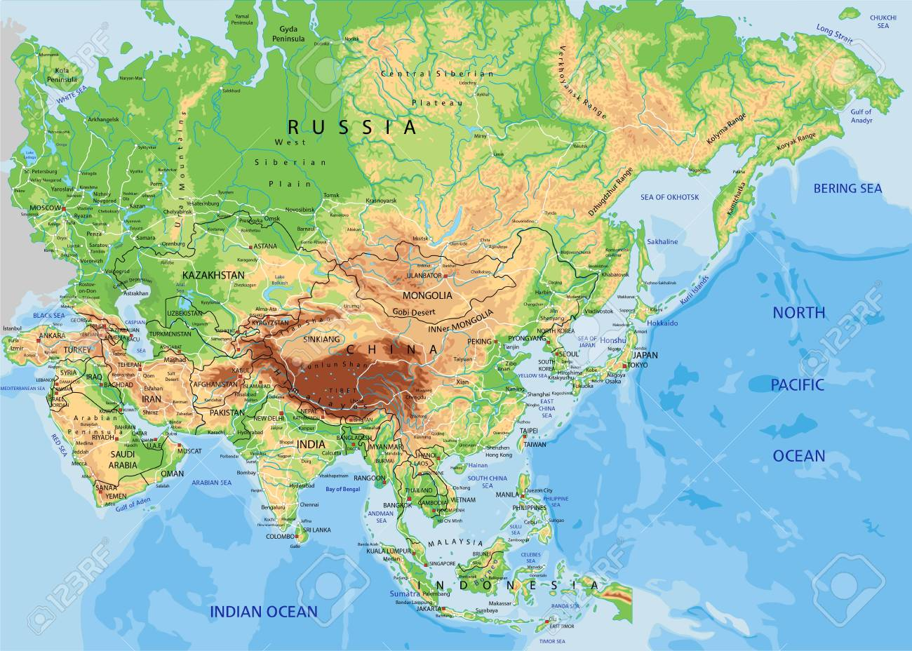 Physical Map Of Asia With Labels.High Detailed Asia Physical Map With Labeling