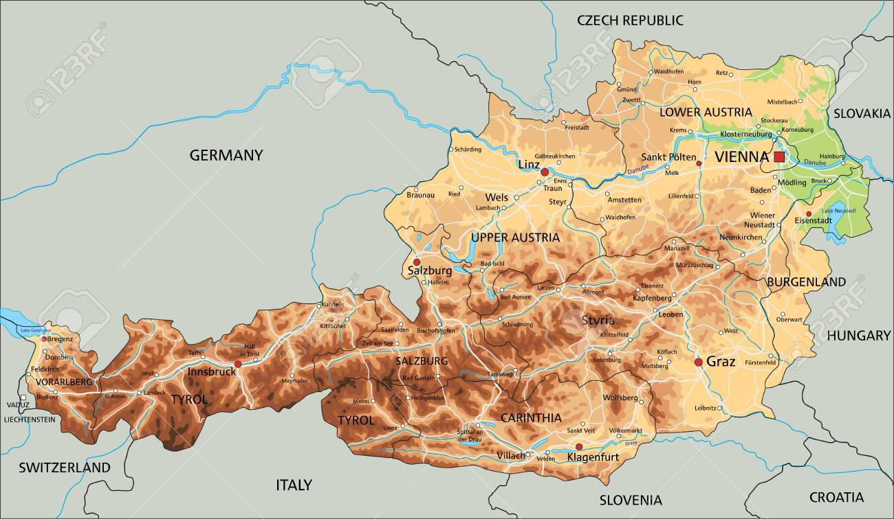 Picture of: High Detailed Austria Physical Map With Labeling Royalty Free Cliparts Vectors And Stock Illustration Image 122605517