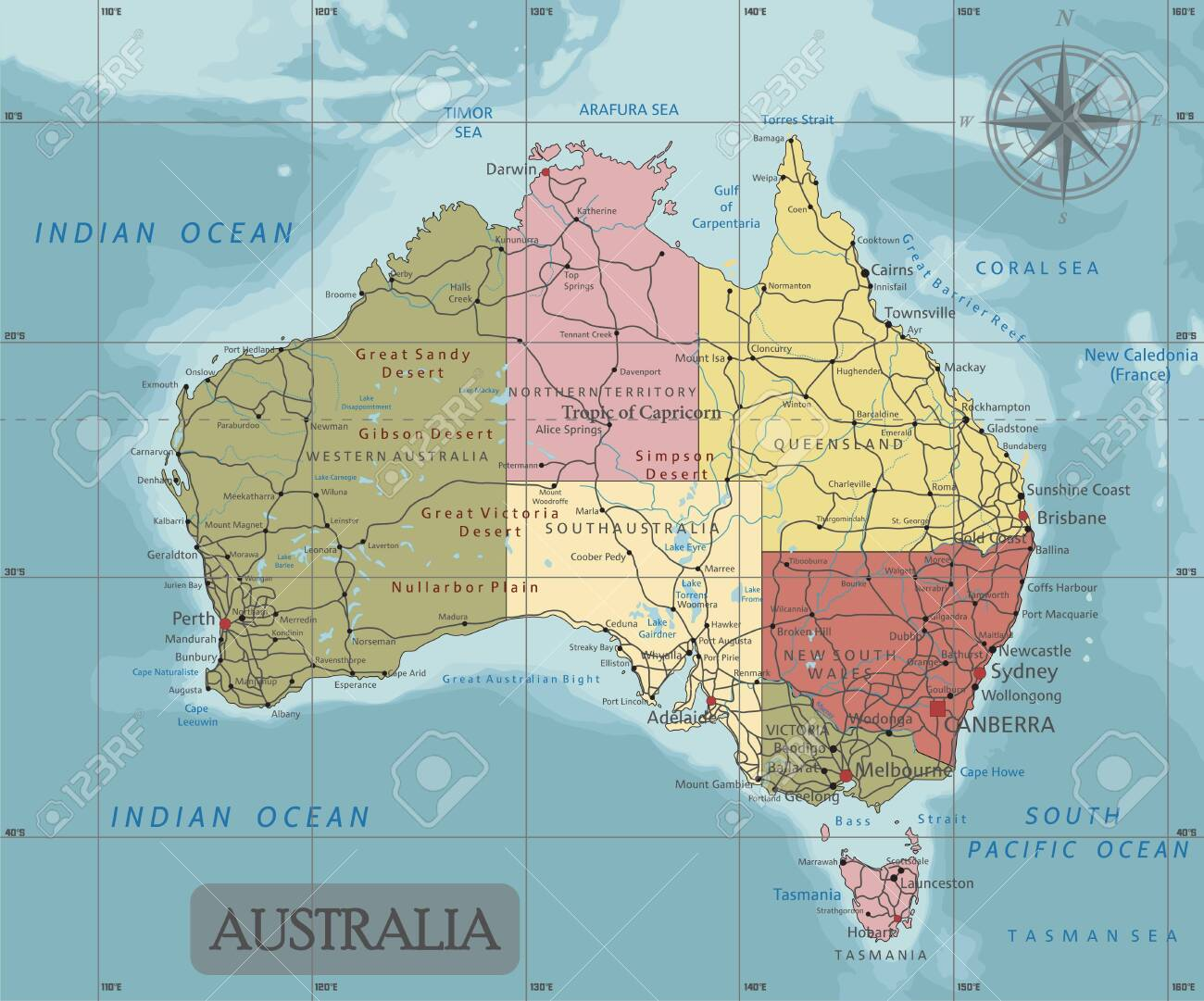 Australia Map Labeled.Detailed Australia Political Map In Mercator Projection Clearly