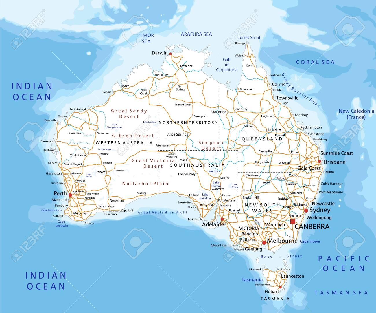 Map Australia East Coast Detailed.High Detailed Australia Road Map With Labeling