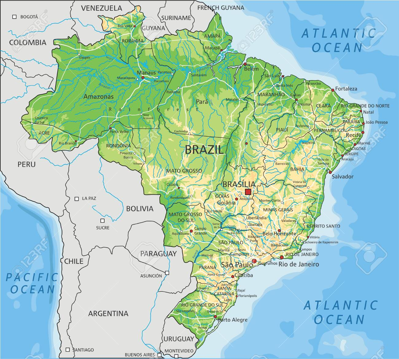 Image of: High Detailed Brazil Physical Map With Labeling Royalty Free Cliparts Vectors And Stock Illustration Image 122605562