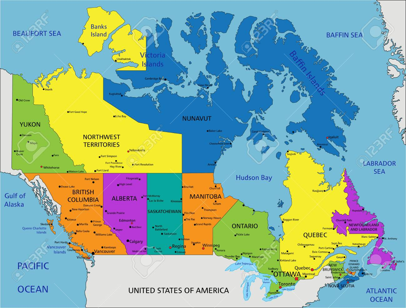 Map Of Canada With Oceans Labeled Colorful Canada Political Map With Clearly Labeled, Separated