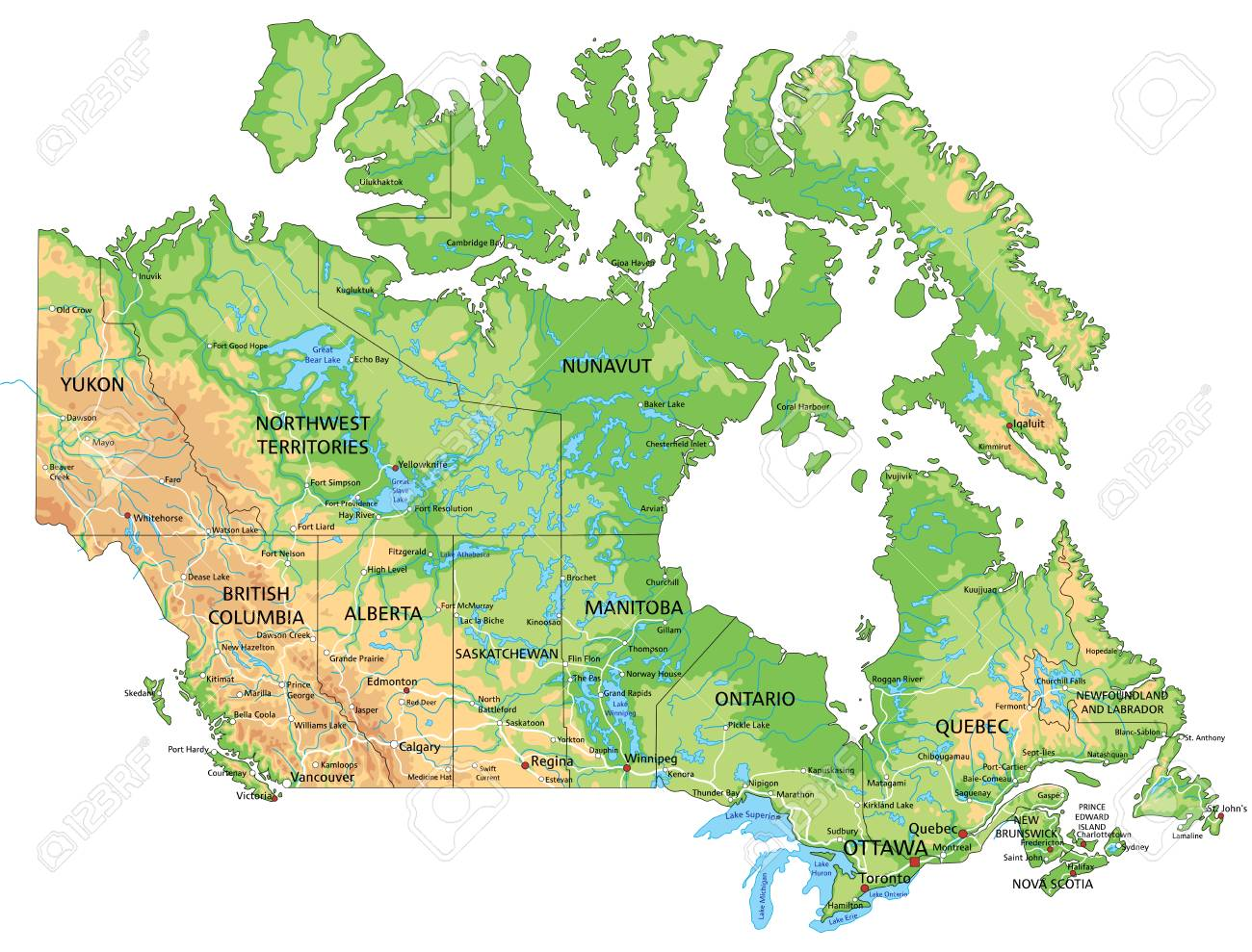 Detailed Map Of Canada.High Detailed Canada Physical Map With Labeling