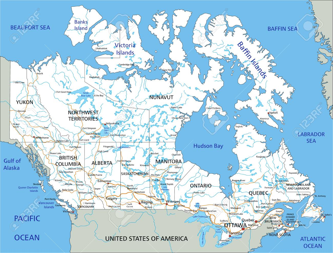 Canada Road Map High Detailed Canada Road Map With Labeling. Royalty Free Cliparts