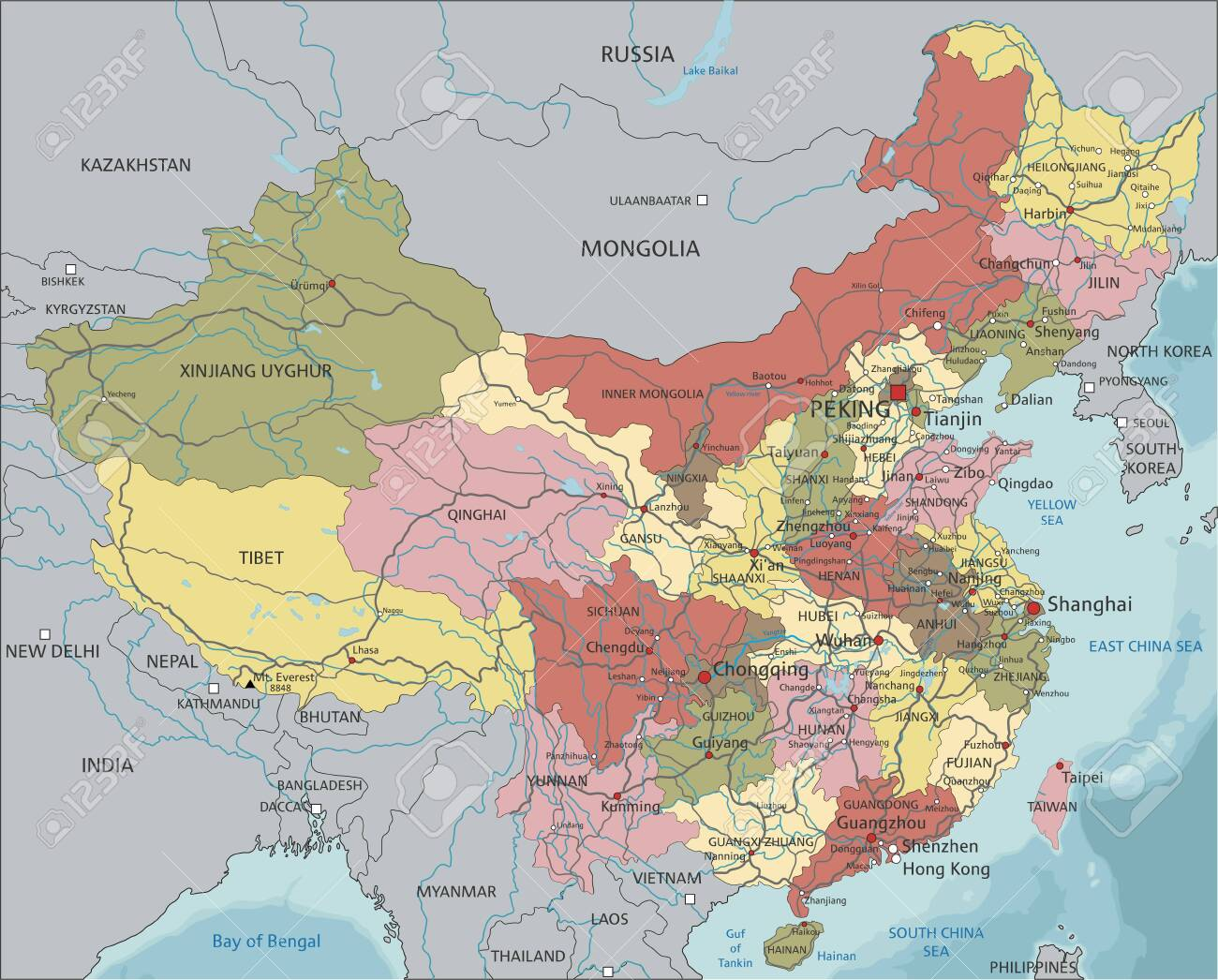 China Highly Detailed Editable Political Map With Labeling Royalty Free Cliparts Vectors And Stock Illustration Image 122606636