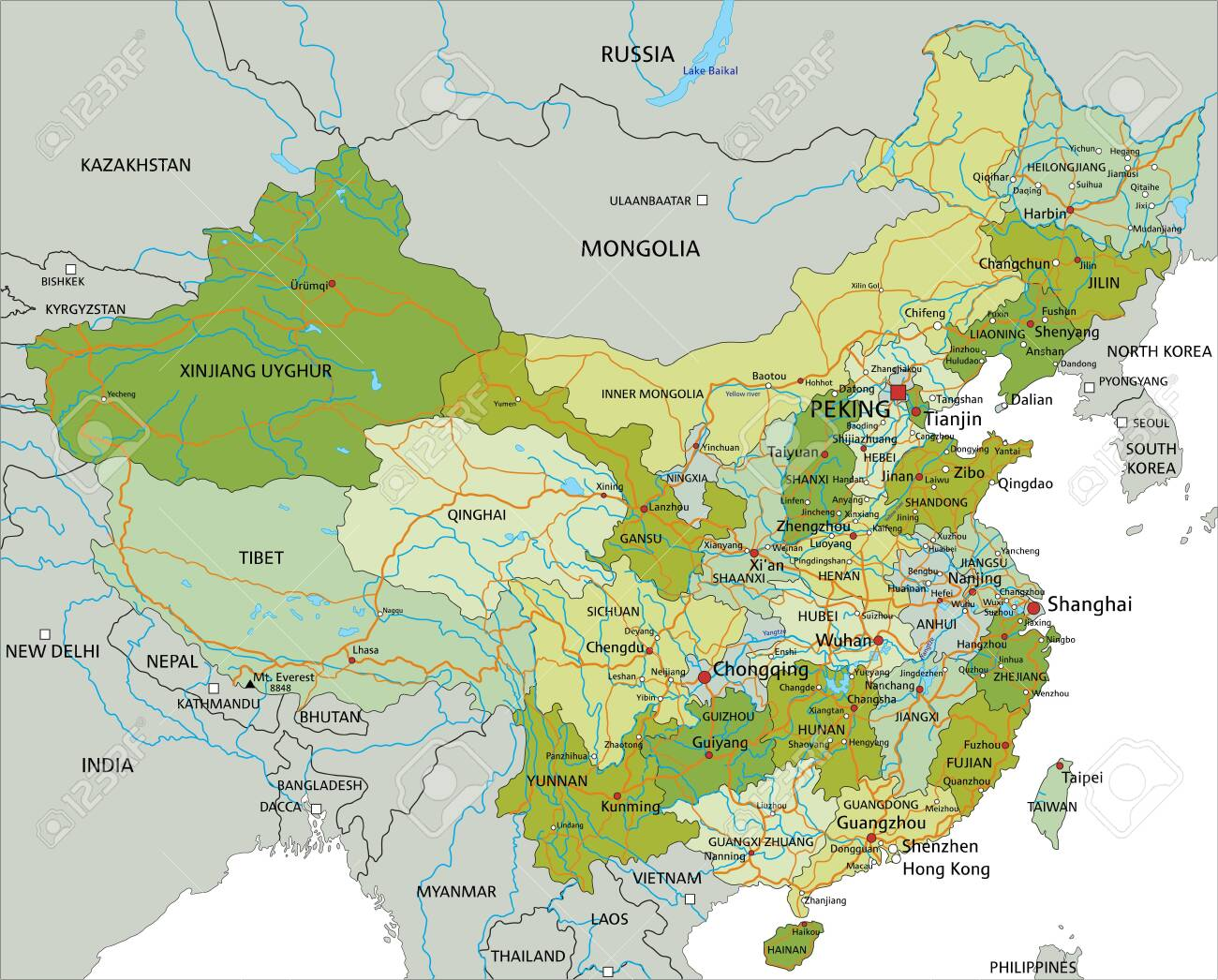 Highly detailed editable political map with separated layers. China. - 122606642