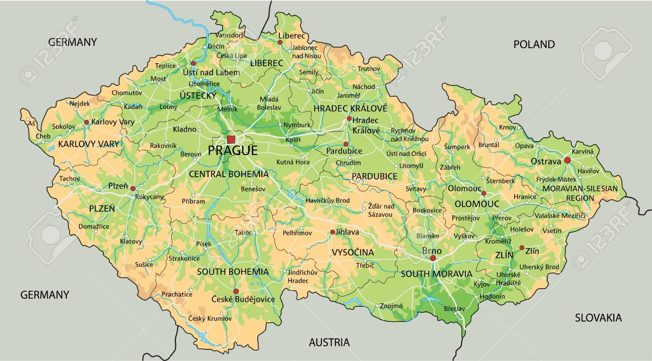 Picture of: High Detailed Czech Republic Physical Map With Labeling Royalty Free Cliparts Vectors And Stock Illustration Image 122606679