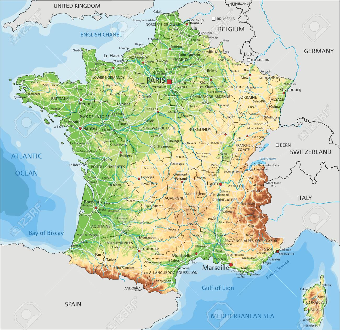 Map Of France Physical.High Detailed France Physical Map With Labeling