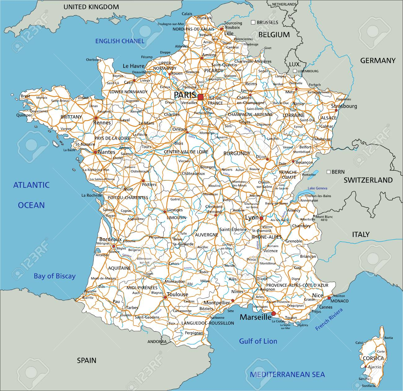 Map Of France Detailed.High Detailed France Road Map With Labeling