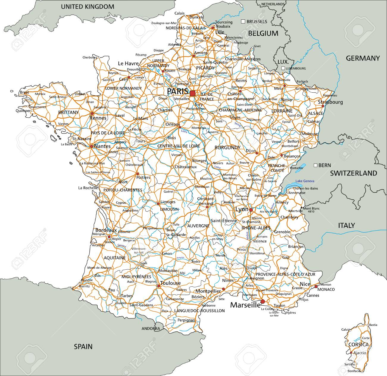 Detailed Road Map Of France.High Detailed France Road Map With Labeling